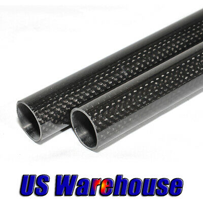 1-2pc 3K Glossy Carbon Fiber Tube 10mm 12mm 16mm 20mm 25mm 30mm x 500mm US