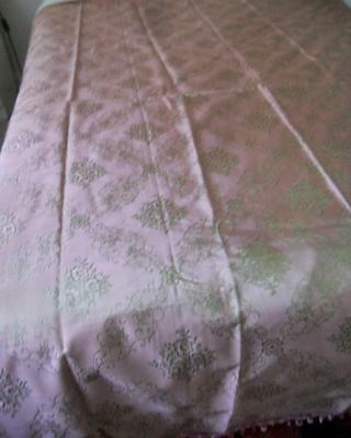 Unused Vintage Green & Pink Shot Silky Taffeta Queen Bedspread Trailing Flowers