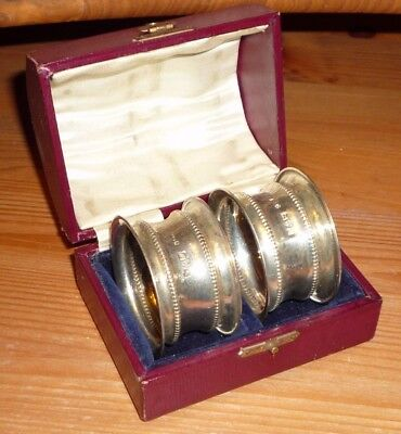 Pair Of Solid Sterling Silver Napkin Ring Holders T & S