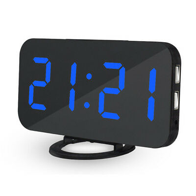 Loskii USB Digital LED Dimmable Alarm Clock Snooze w/ Dual USB Charger For Phone