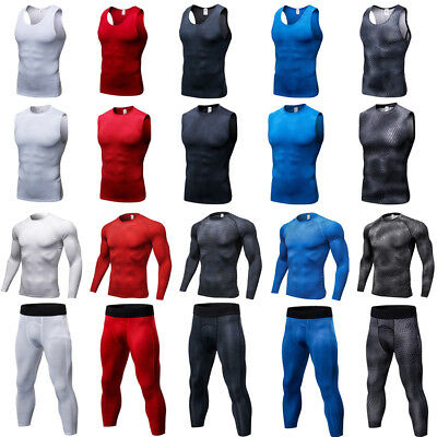 Mens Skins Compression Pants Tops Base Layer Tights Sports Athletic Wear Fitness