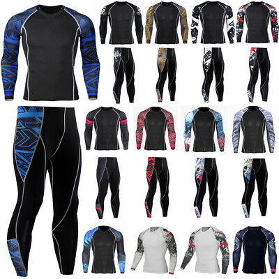 Mens Compression Tights Base Layer T-Shirt Tops Tee Muscle Sports Pants Trousers