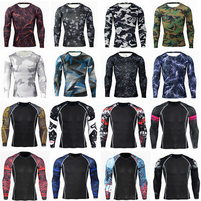 Mens Compression Armour Base Layer Tops Long Sleeve Thermal Muscle Sport T Shirt