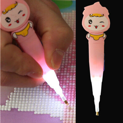 5D Painting Diamond Rhinestone Stitch Led Light Pen DIY Embroidery Craft Tool US