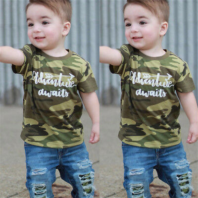 Toddler Kids Baby Boys Camo Tops T-shirt Denim Hole Pants Outfits Set Clothes AU