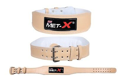 """Met-X Weight Lifting 4"""" Leather Belt Back Support Strap Gym Training Fitness"""