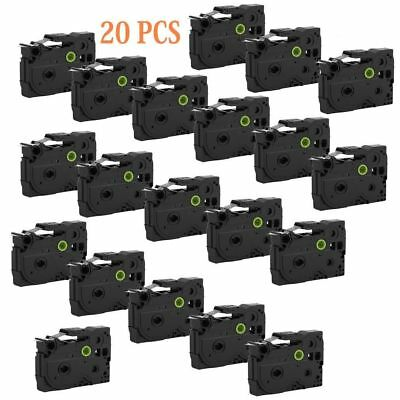 20 Pack Black on White Label Tape P-Touch Compatible for Brother TZ 231 TZe 231