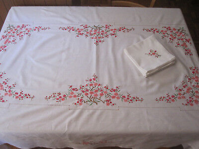 Vintage large rectangular embroidered tablecloth cherry blossoms, 8 napkins