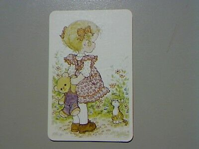 "1 Swap/Playing Card - ""Sarah Kay"" Cute Girl Holding Teddy Bear (Blank Back)"