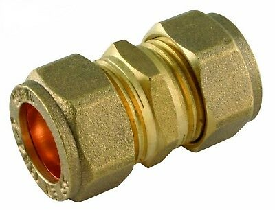 "8mm 5/16"" BRASS STRAIGHT COMPRESSION CONNECTOR JOIN LPG GAS PIPE FITTING OLIVES"
