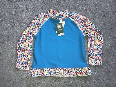 NWT LLBean Girls Rash Guard Flowers Size 4