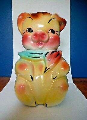 AMERICAN BISQUE / Boy Pig with scarf / Cookie Jar