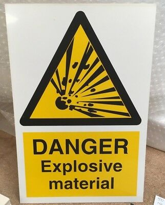 Warning Sign - DANGER Explosive Material - 300 x 200mm Safety Signs