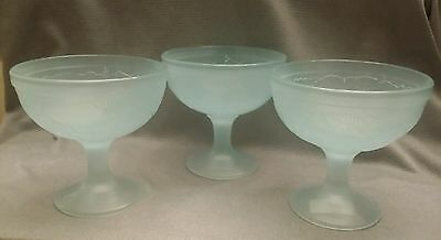 3 Glass Cristal d'Arques? France LONGCHAMP Footed Sherbet/Dessert/Fruit Bowls