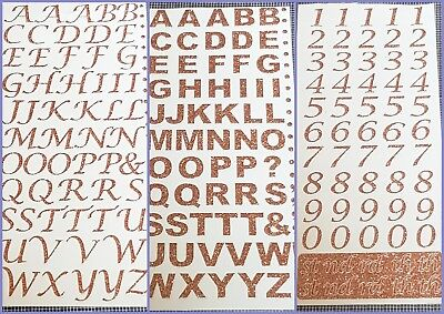 Rose Gold Self Adhesive Glitter Alphabet Letters Numbers Peel off Stickers