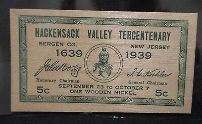 Hackensack Valley Tercentenary Souvenir Wooden Nickel Certificate 300th Anniv.