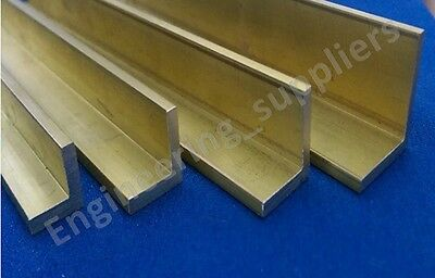 "Brass Extruded 1/8th Equal Right Angle ""L"" shape 1/2, 5/8, 3/4 & 1"" 100 to 600mm"