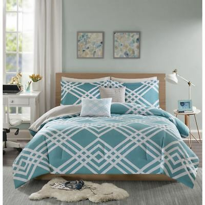 Chic Aqua Blue & White Geometric Reversible Comforter Set AND Decorative Pillows