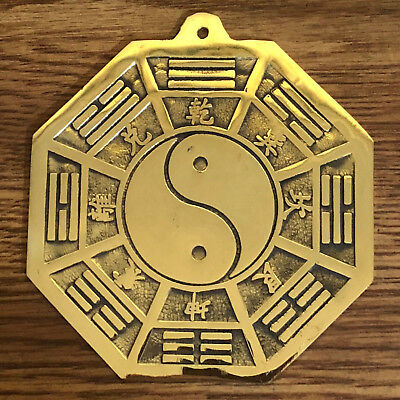 Feng Shui Brass Ba Gua Bagua Mirror Charm Protect The House
