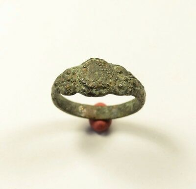 Rare Roman To Medieval Bronze Ring With Decorated Bezel - Wearable Artifact