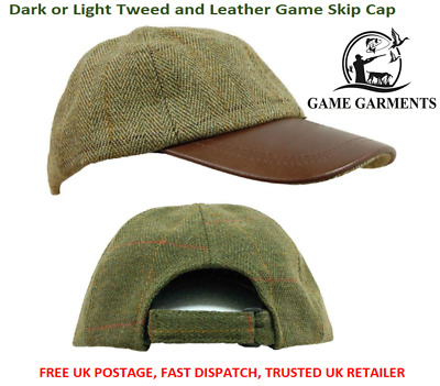 Tweed & Leather Baseball Skip Cap Hat, Dark Tweed / Light Sage Hunting/ Shooting
