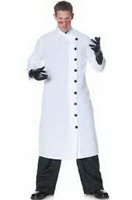 Lab Coat Long White Mad Scientist Nehru Collar Side Button Costume Coat XL