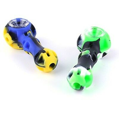 """4"""" Silicone-Tobacco-Pipe-With-Glass-Bowl-Tool & Stash-Container"""
