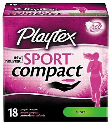 Playtex Sport Compact 18 Unscented Super Compact Tampons 360 Degree Protection