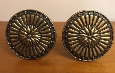 Vtg Solid Brass Curtain Tie Back Holder Flower Medallion Round Set Of 2