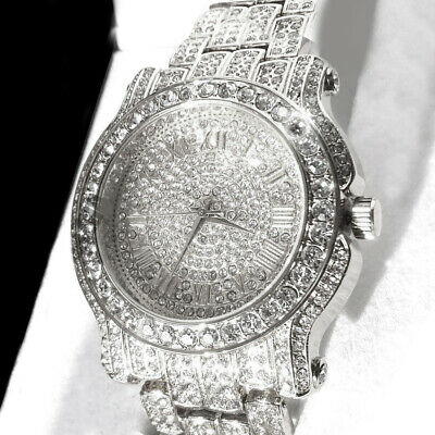 pave HIP HOP ICED OUT RAPPER GOLD FINISHED SIMULATED Crystal WATCH RING