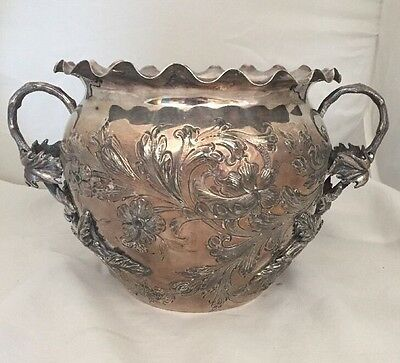 Antique Vase Pot English Silverplate John Round & Son Sheffield Jr & S Marked