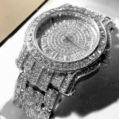 Men Techno Pave Hip Hop Iced Out Bling Crystal Rappers Silver Watch