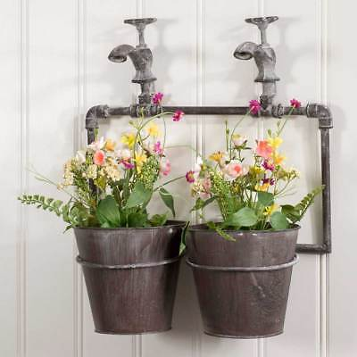 Primitive Country StyleTwo-Pot Wall Planter with Spigots Hanging Flower Pots