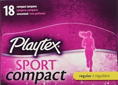 Playtex Sport Compact 18 Regular Unscented Tampons 360 Degree Protection
