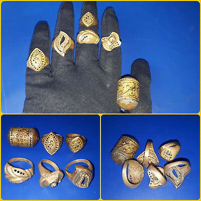 SALE !!Lot Of 5 Roman/ Post Medieval Decorated Wearable Rings - Great Artifacts.