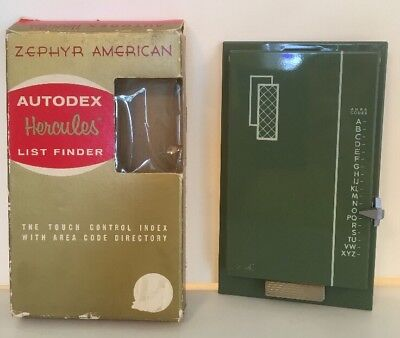 ZEPHYR Vintage American Model Autodex Green  Never Used Pages Mid Century Metal