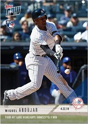 2018 Topps NOW MLB 115 Miguel Andujar Four-Hit Game Highlights Yankees 5-1 Win