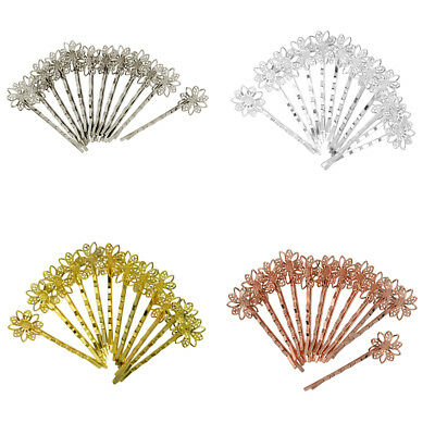 12pcs Flower Filigree Hair Clips Hair Pins Blank Findings Base Accessories