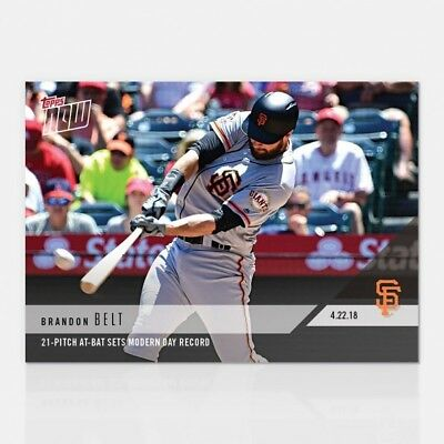 2018 Topps NOW MLB 117 Brandon Belt 21-Pitch At-Bat Sets Modern Day Record