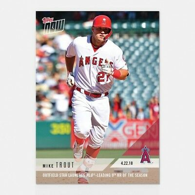 2018 Topps NOW MLB 116 Mike Trout Launches MLB Leading 9th HR of the Season