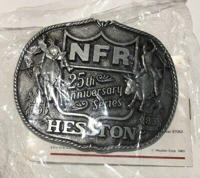 Hesston NFR 25th Anniversary Series 59 83 Belt Buckle with Paper First Edition