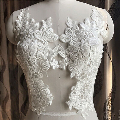 1 Pair Trim Embroidery Lace Applique Sewing Motif DIY Wedding Bridal Crafts