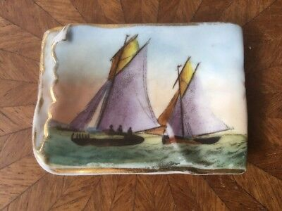 Antique German or Austrian Hand Painted Boats Butter Pat c.1850-1880;s, p48
