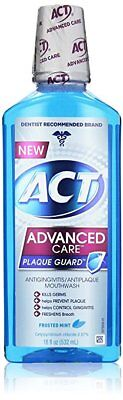 ACT Advanced Care Plaque Guard Mouthwash, Frosted Mint, 18 oz (8 Pack)