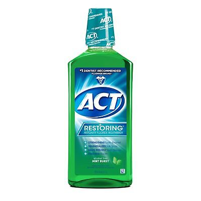 ACT Restoring Anticavity Fluoride Rinse, Mint Burst, 33.8 oz (6 Pack)