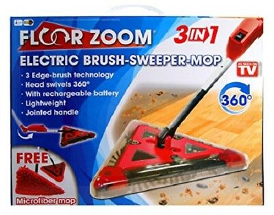 3 In 1 Electric Brush Sweeper Mop Floor Zoom 3 Edge Brush Technology Red New