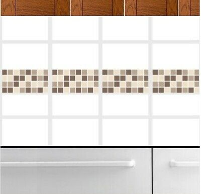 Self Adhesive Mosaic Border Tile Transfers Stickers Bathroom Kitchen Coffee