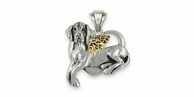 Great Dane Angel Pendant Jewelry Silver And 14k Gold Handmade Dog Pendant GD14-T