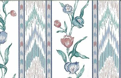 Flame Stitch Vintage Wallpaper Tulips Blue Red Green Village 586671 Double Rolls