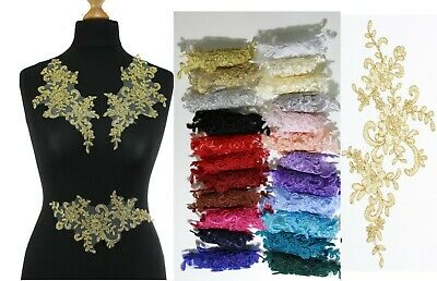 2 x  Lace Applique Wedding Motif Sew On size: 22 cm x 10 cm :#39 (9 Colours)